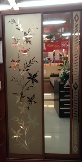 Шкаф-купе 2-х створчатый Яблоня Локарно пескоструй лилии