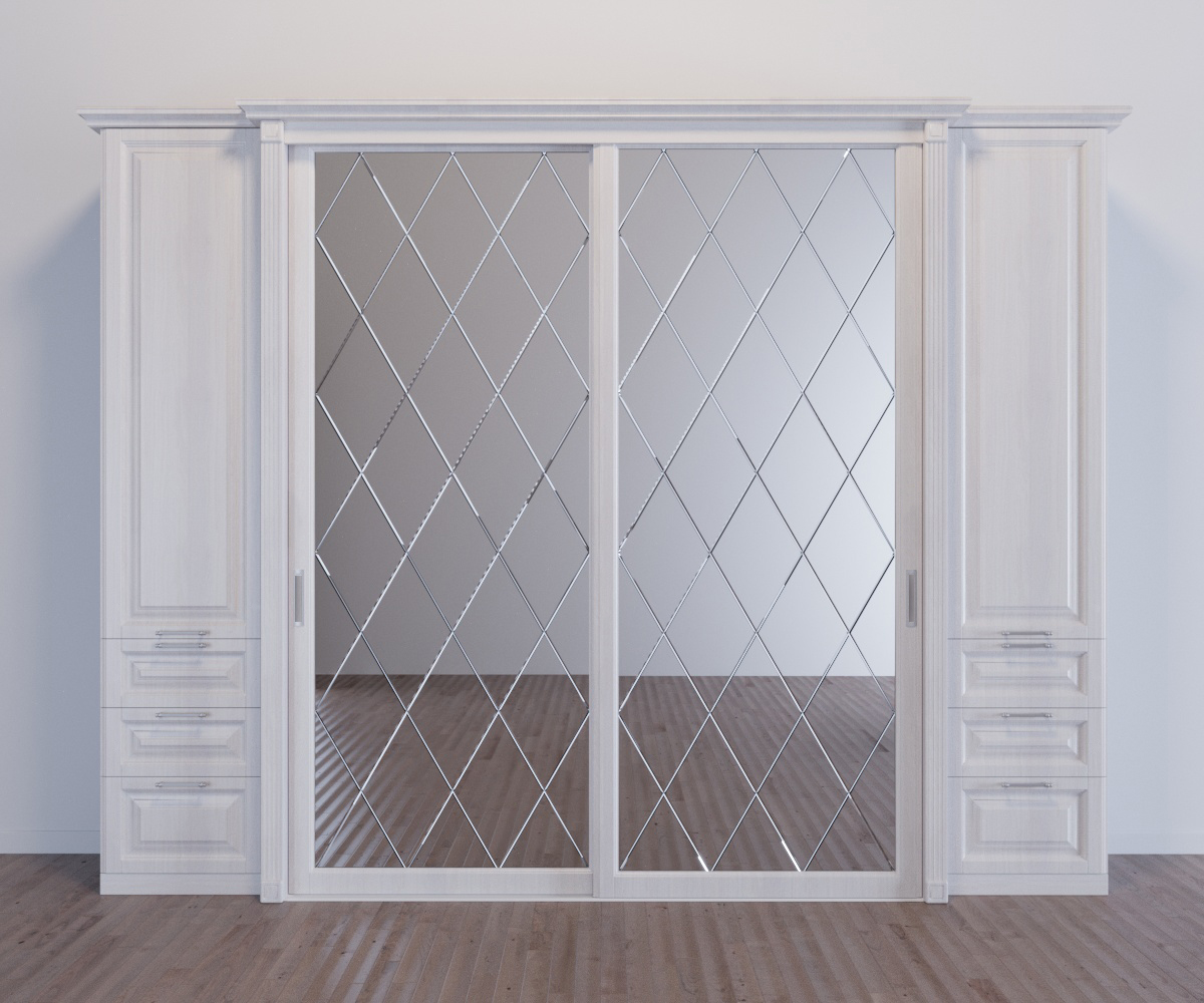 Шкаф-купе 2-х створчатый Баунти с зеркалами