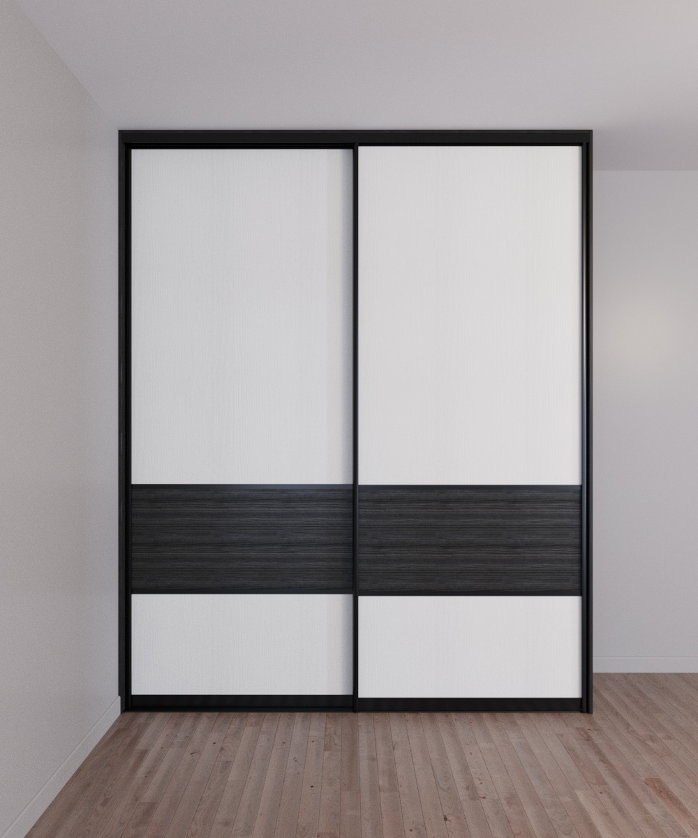 Шкаф-купе полувстроенный 2-х дверный Сосна Гаванна чёрная и Белый премиум