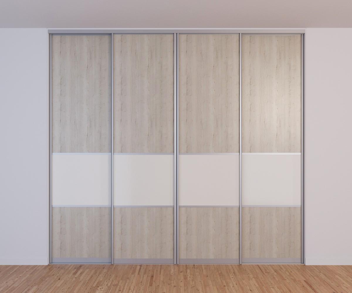 Встроенный 4-х дверный шкаф-купе в спальню Дуб Галифакс белый