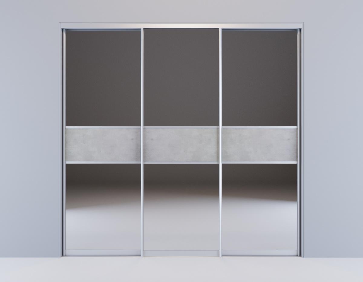 Встроенный 3-х створчатый шкаф-купе Дуб Сонома зеркальный со вставками под бетон