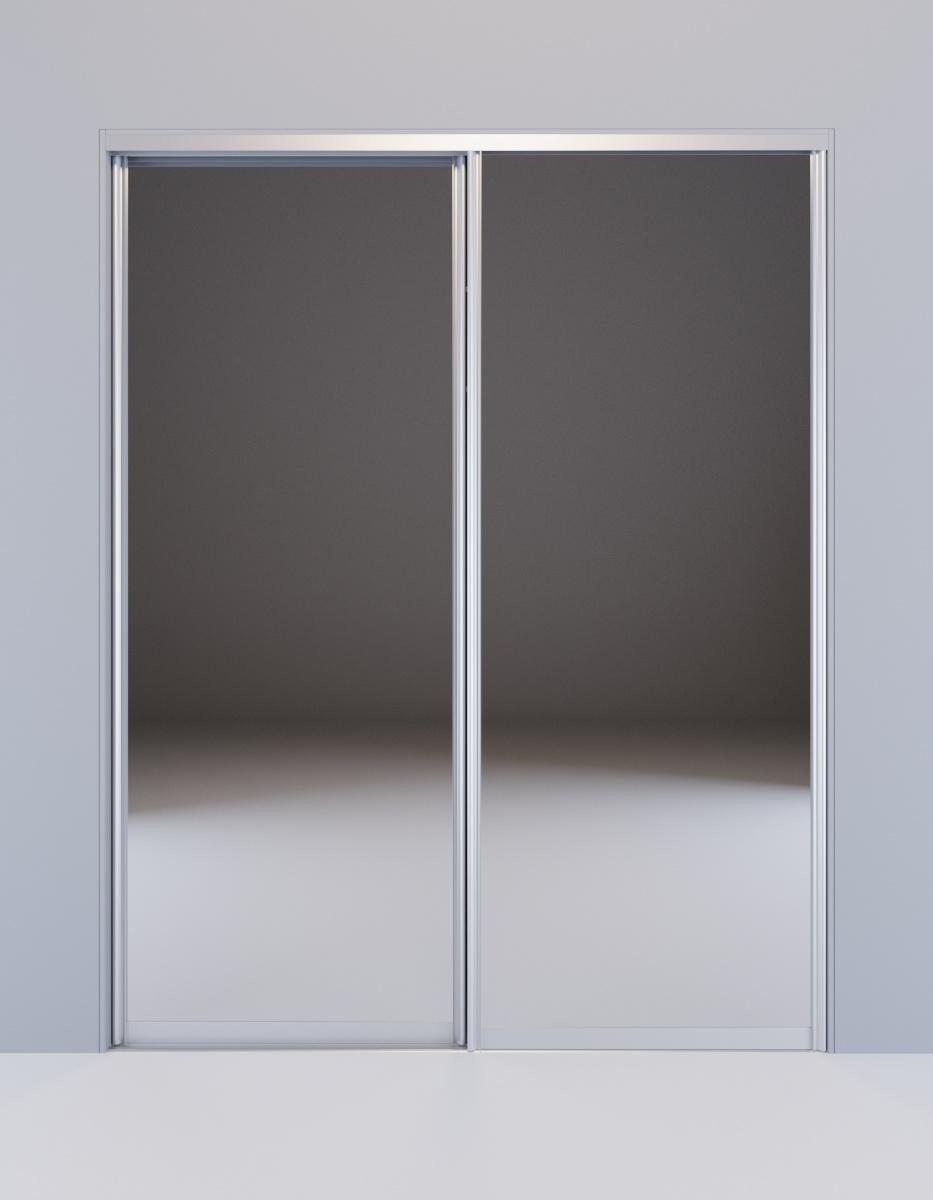 Встроенный шкаф-купе Дуб Сонома зеркальный Сапфир серебро