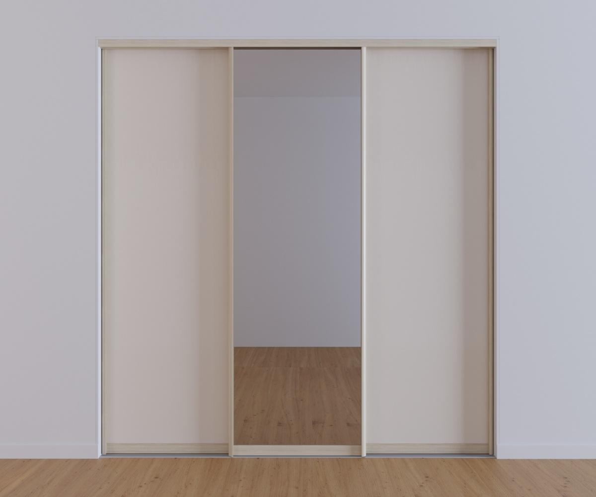Встроенный 3-х дверный шкаф-купе Бьянко с зеркалом