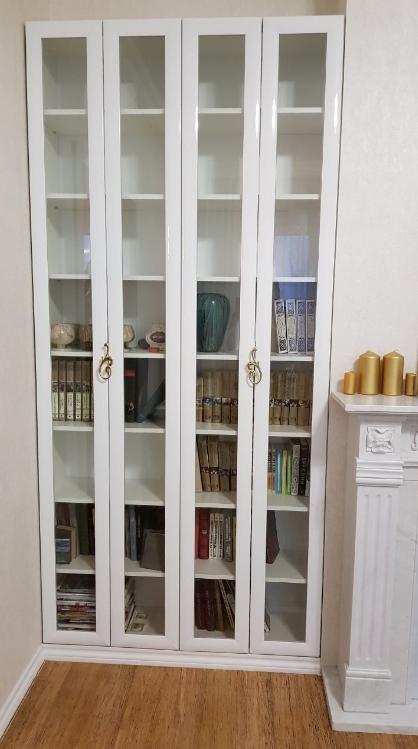 Шкаф-гармошка Белый стеклянные двери
