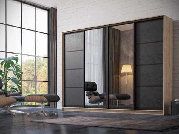 Шкаф-купе в гостиную 4 двери коричневая кожа 2 зеркала