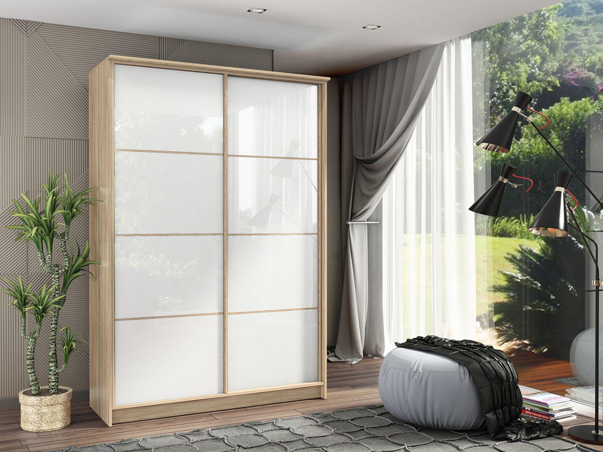 Шкаф-купе в гостиную 2 двери Ясень Ориноко Белый глянец