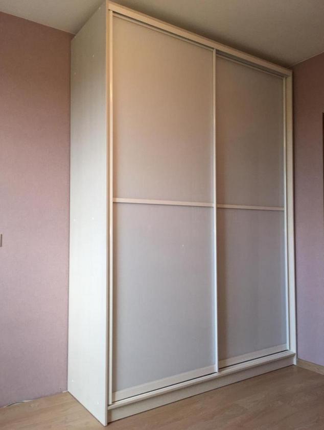 Шкаф-купе 2-дверный Дуб Шамани светлый белое стекло