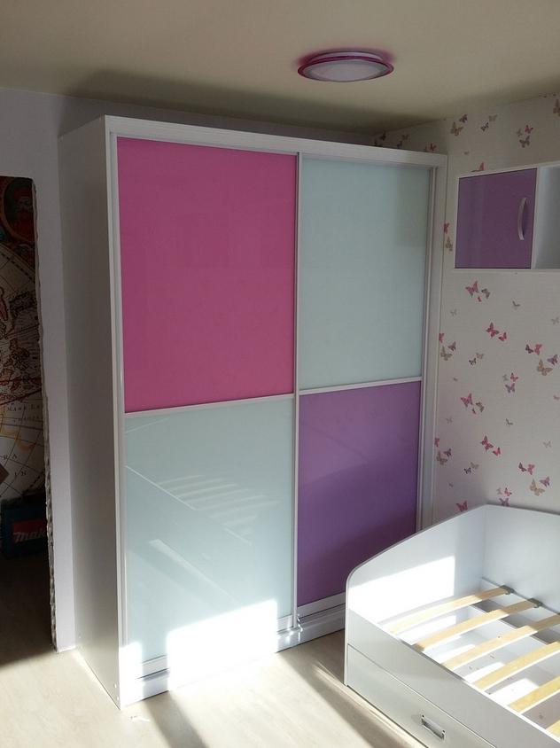 Шкаф-купе в детскую 2 двери Белый Розовый Фиолетовый