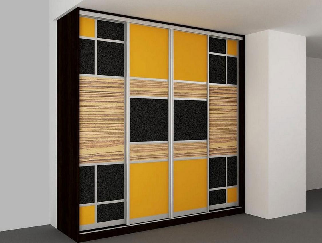 Шкаф-купе в детскую 4 двери Черный Оранжевый