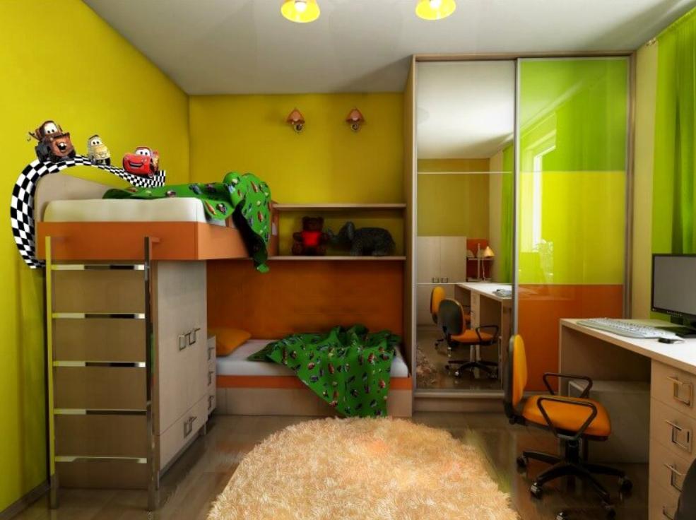 Шкаф-купе в детскую 2 двери Дуб Паллада Желтый Оранжевый Зеленый с зеркалом