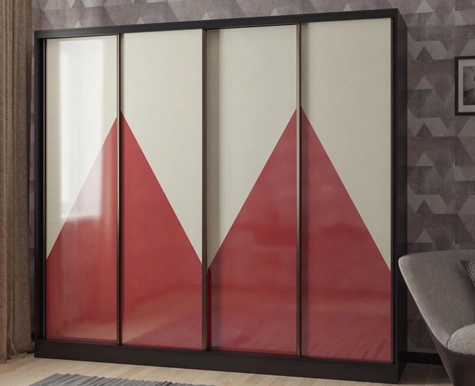 Шкаф-купе в гостиную 4 двери Венге Темно-красный Бежевый