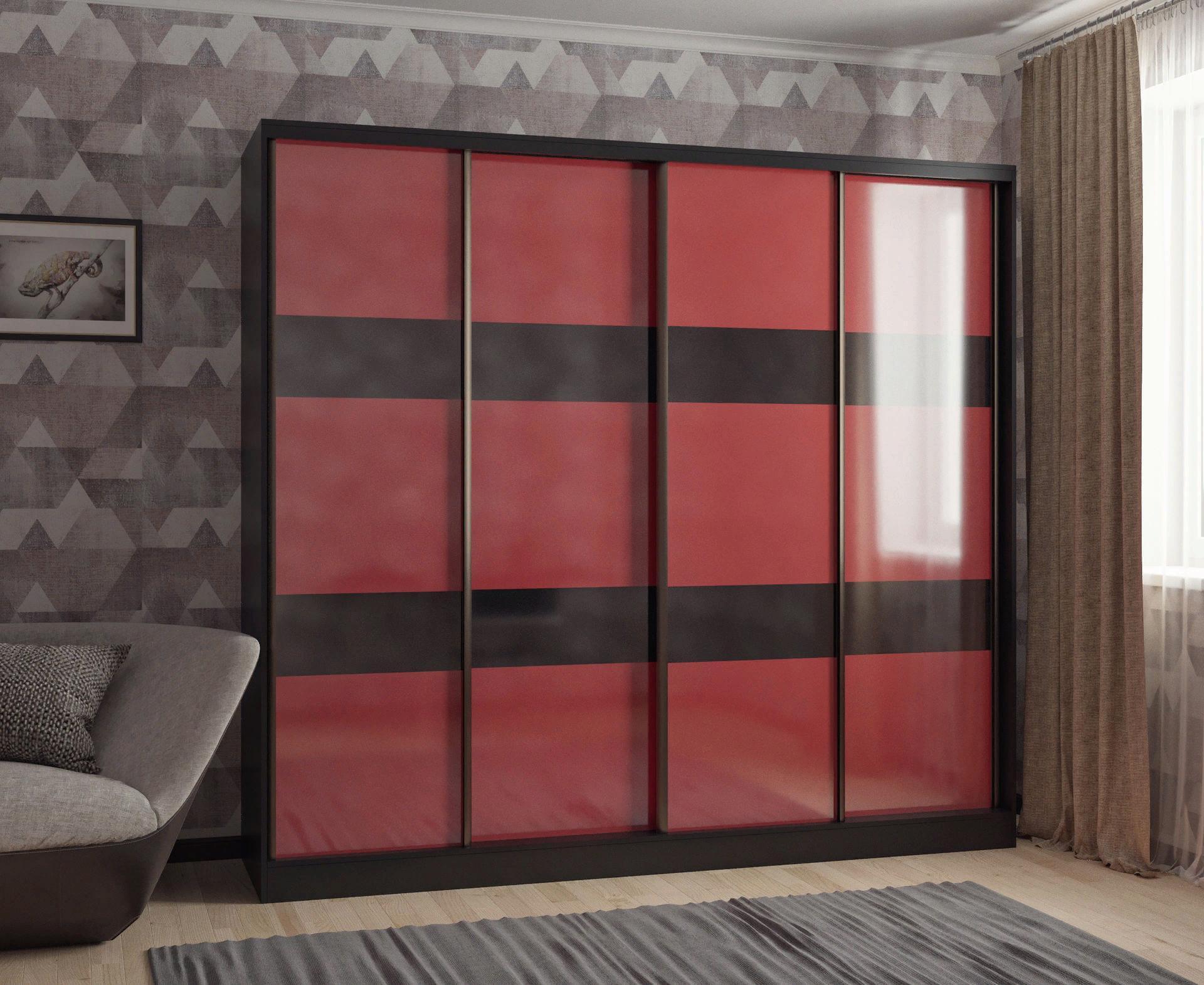 Шкаф-купе в гостиную 4 двери Венге Бордовый