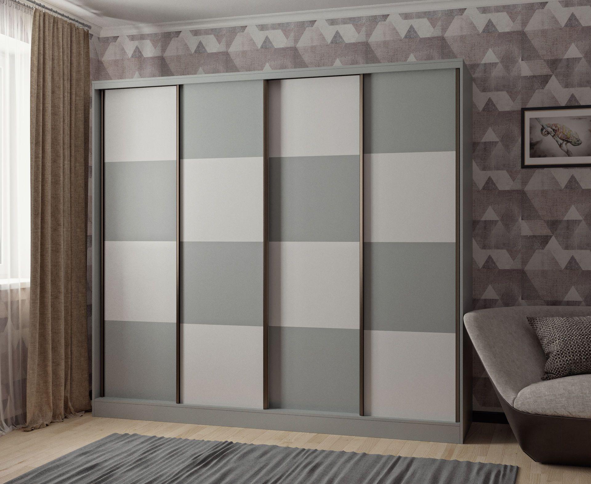 Шкаф-купе в гостиную 4 двери Серый шахматная доска
