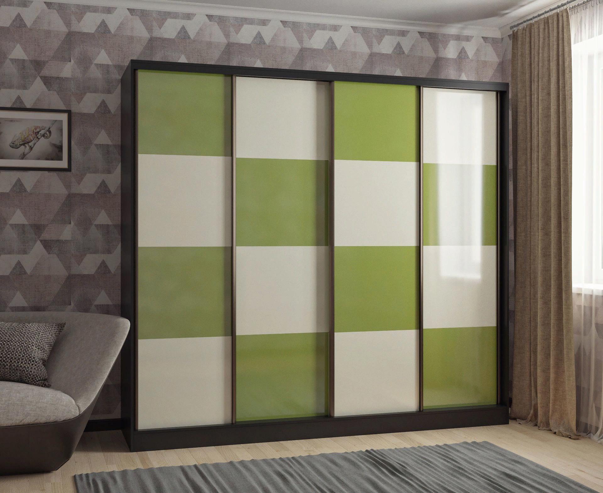 Шкаф-купе в гостиную 4 двери Венге Лилово-Зеленый Бежевый