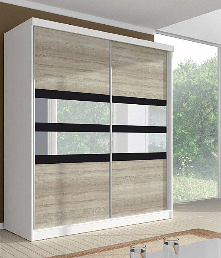 Шкаф-купе в гостиную 2 двери Белый Пикард зеркальные вставки