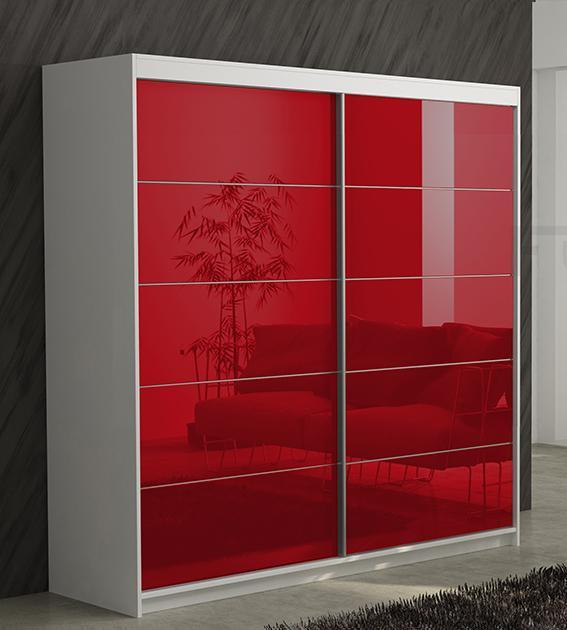 Шкаф-купе в гостиную 2 двери Красный Белый