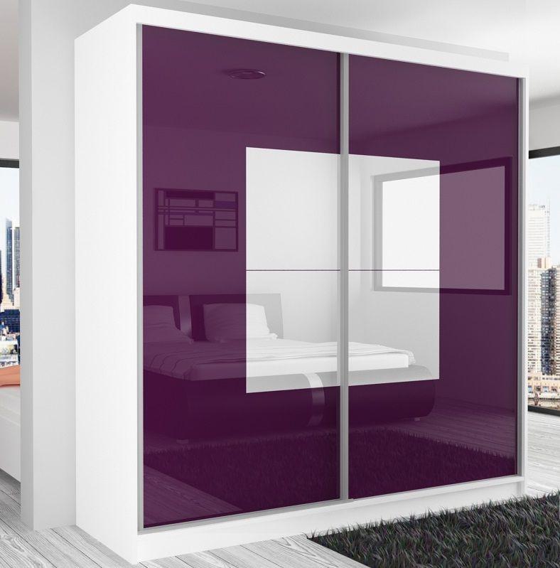 Шкаф-купе в гостиную 2 двери Белый Фиолетовый глянец
