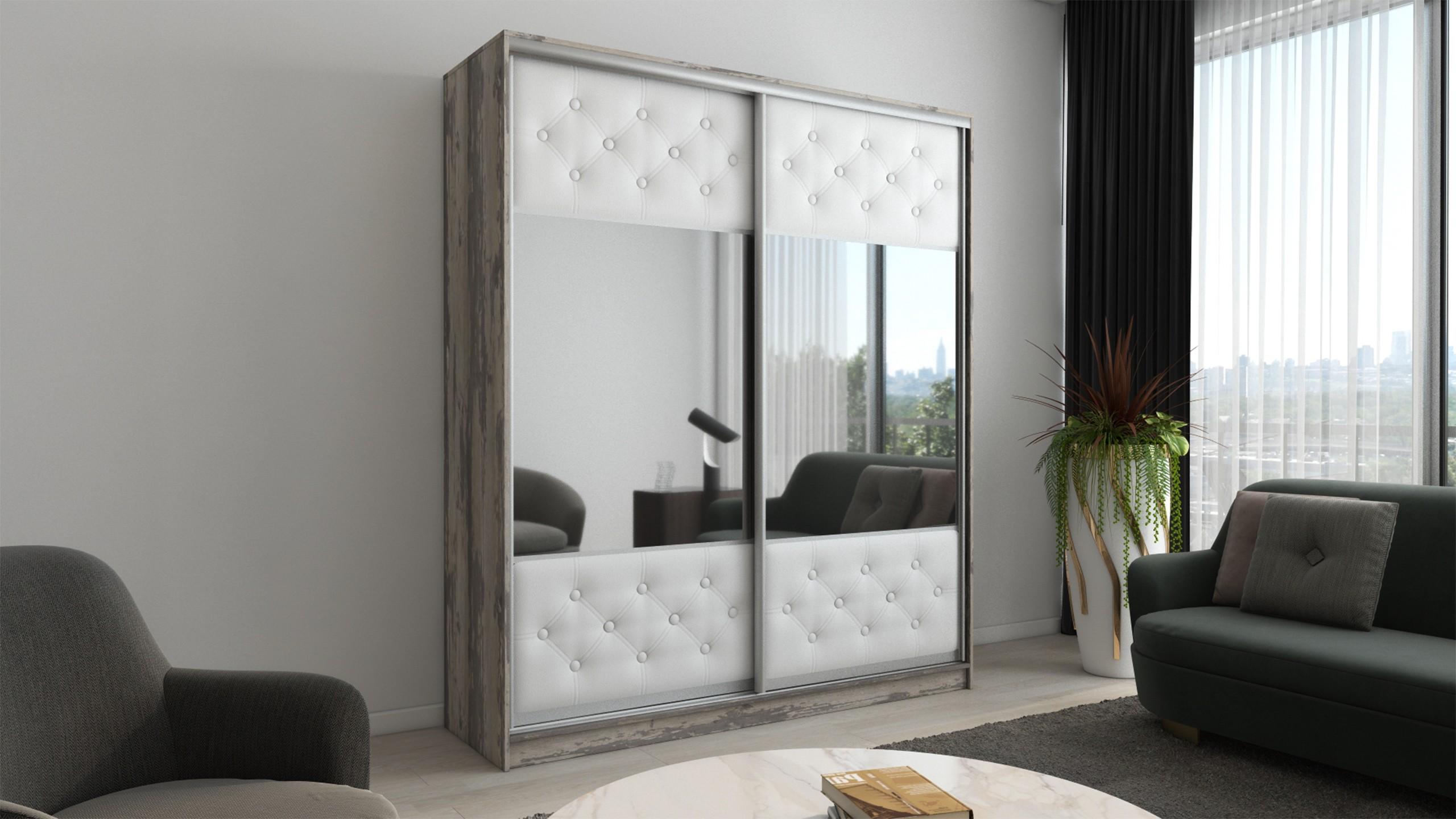 Шкаф-купе в гостиную 2 двери Бетон Пайнт Белая кожа с зеркалами