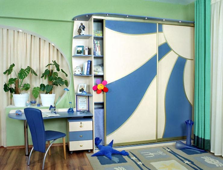 Шкаф-купе в детскую 2 двери Бежевый Синий солнце