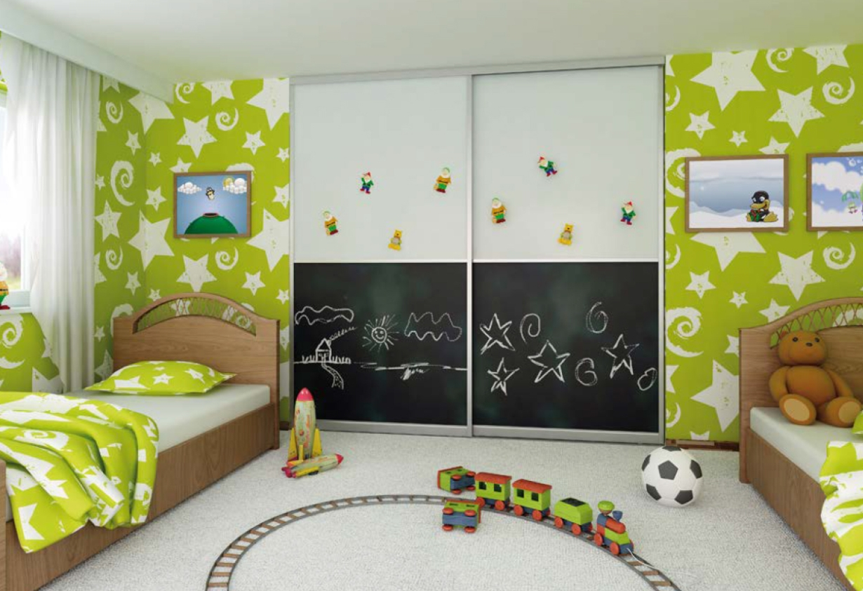 Встроенный шкаф-купе в детскую 2 двери Белый графитовое покрытие