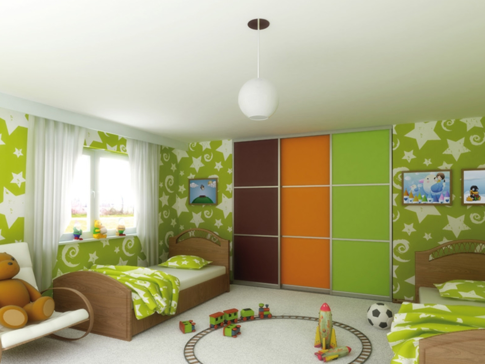 Встроенный шкаф-купе в детскую 3 двери Коричневый Оранж Зеленый