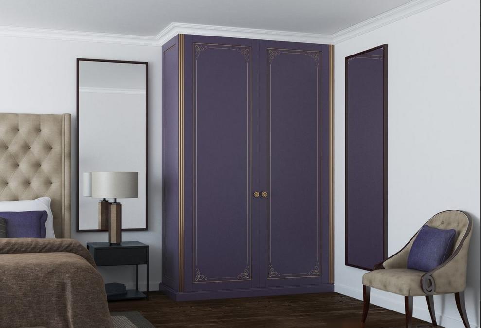 Встроенный распашной шкаф 2 двери фиолетовый с патиной золото