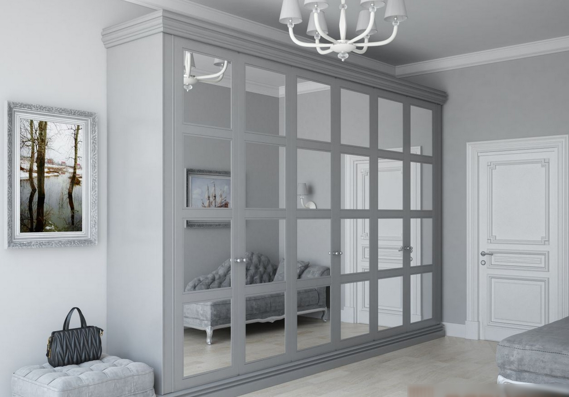 Распашной шкаф 6 дверей серый с зеркалами