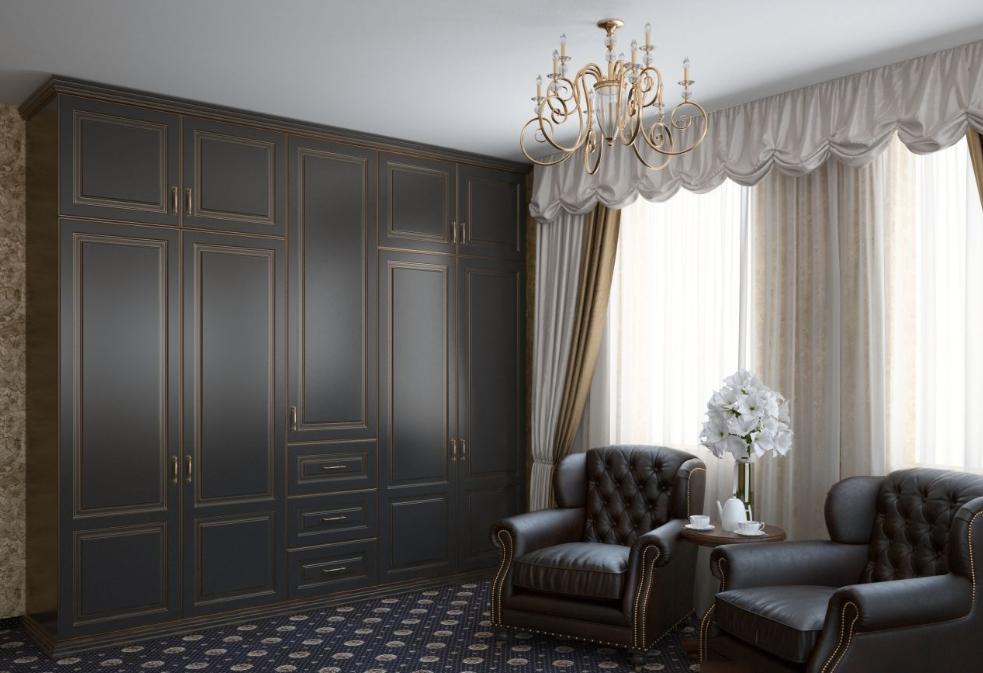 Распашной шкаф темно-серый с патиной золото