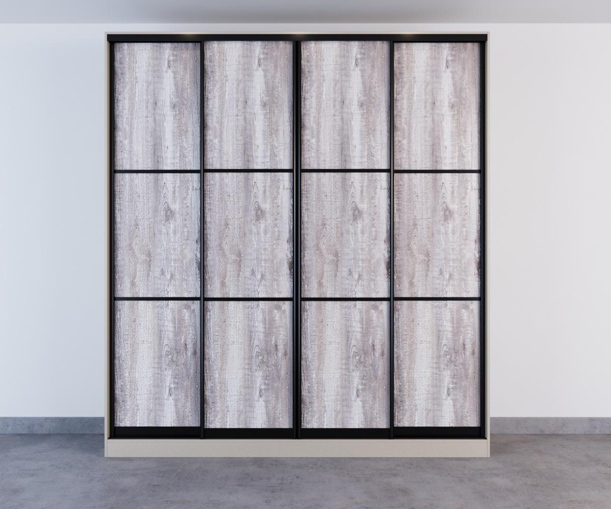 Шкаф-купе 4 двери Бетон Пайнт черный профиль