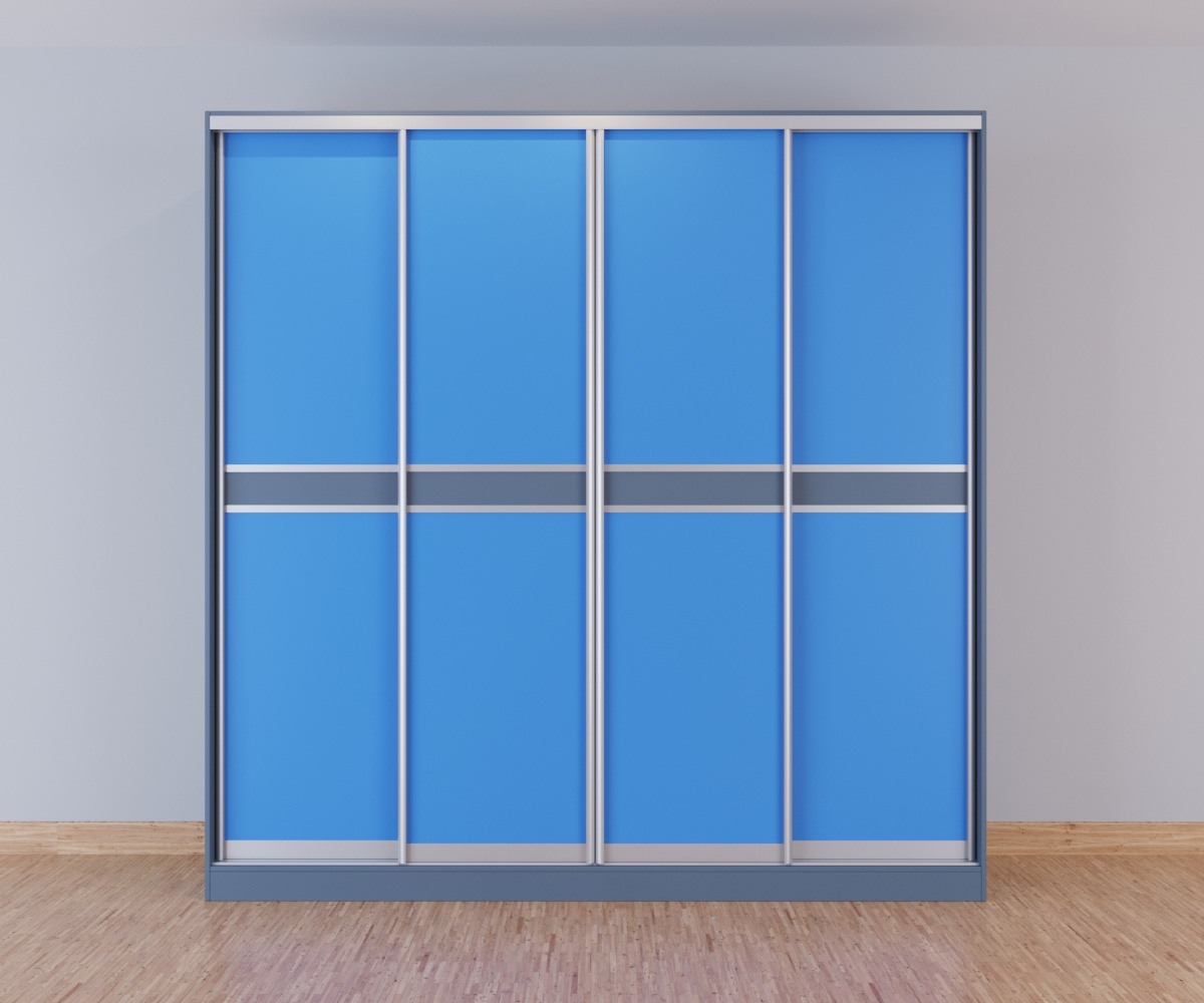 Шкаф-купе 4-дверный голубой с серой вставкой