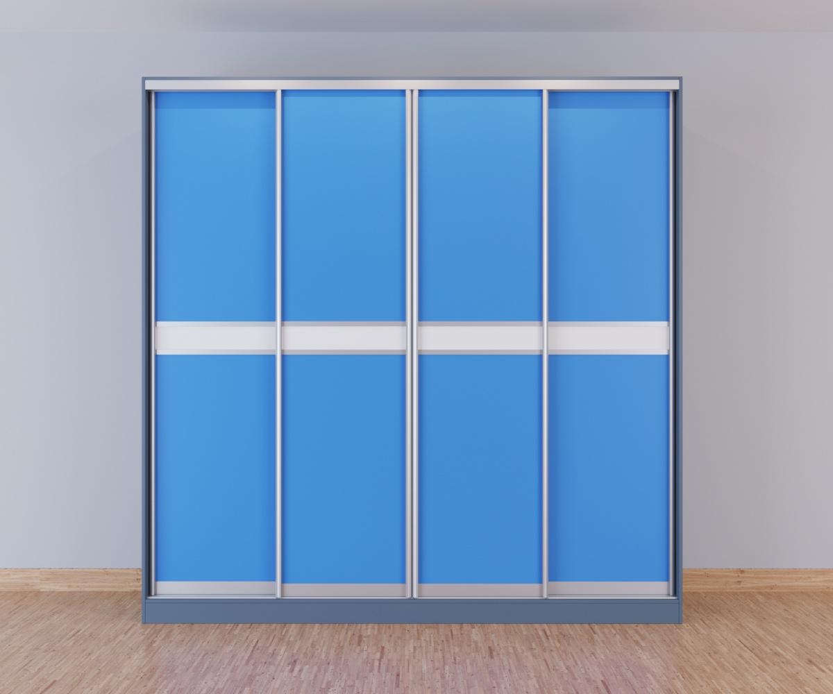 Шкаф-купе 4-дверный голубой с белой вставкой