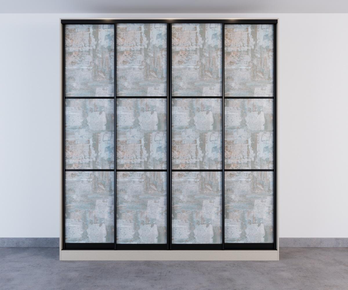 Шкаф-купе 4 двери рисунок под обои с черными делителями