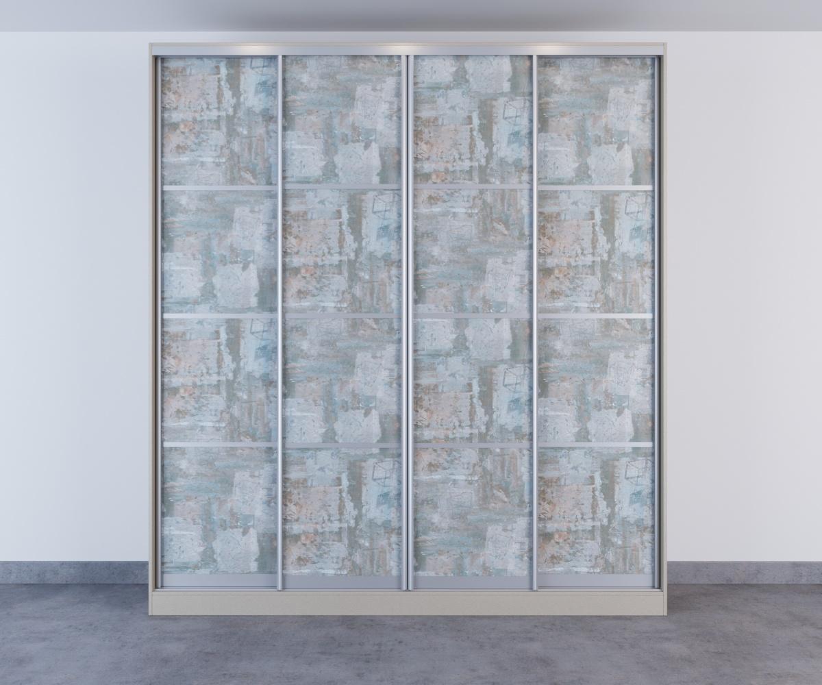Шкаф-купе 4 двери рисунок под обои с делителями серебро
