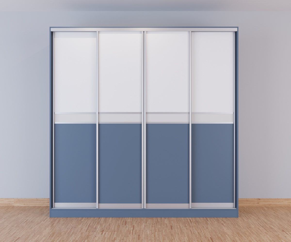 Шкаф-купе 4 двери серый белый