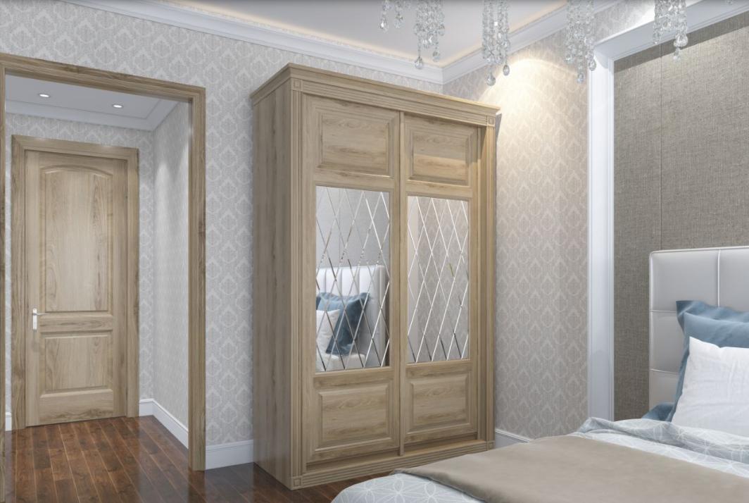 Шкаф-купе 2 двери из массива дуба в спальню Классика зеркала алмазная гравировка