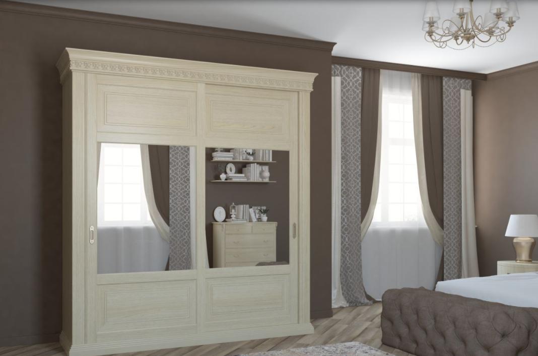 Шкаф-купе 2 двери из массива в спальню Классика Светлый дуб с зеркалами