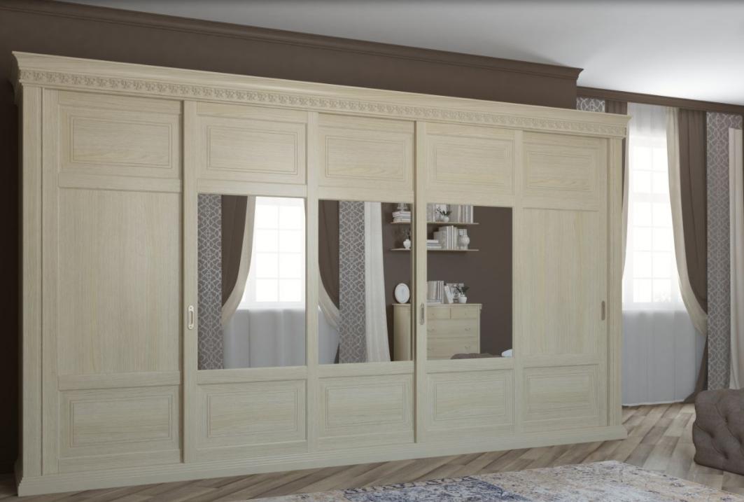 Шкаф-купе 5 дверей из массива в спальню Классика Светлый дуб с зеркалами