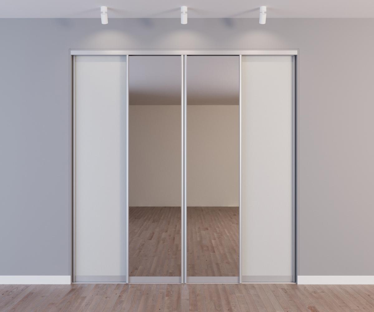 Встроенный шкаф-купе 4 двери белый 2 зеркала