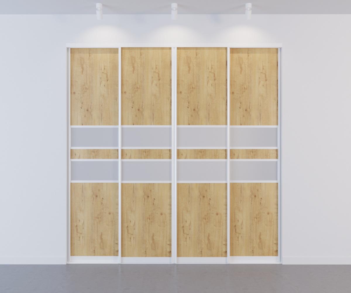 Встроенный шкаф-купе 4 двери Бунтари вставки стекло