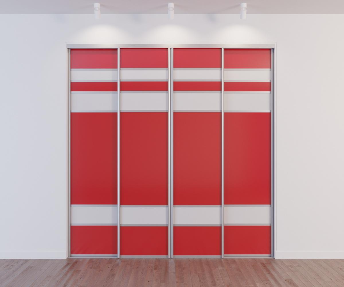 Встроенный шкаф-купе 4 двери красный белые вставки