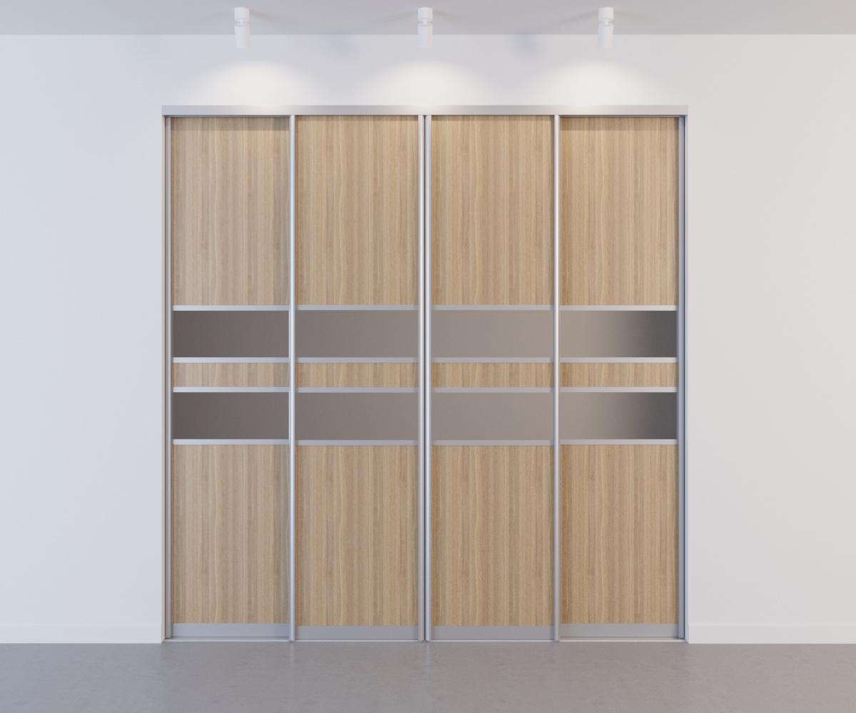 Встроенный шкаф-купе 4 двери Вяз Швейцарский с зеркальными вставками
