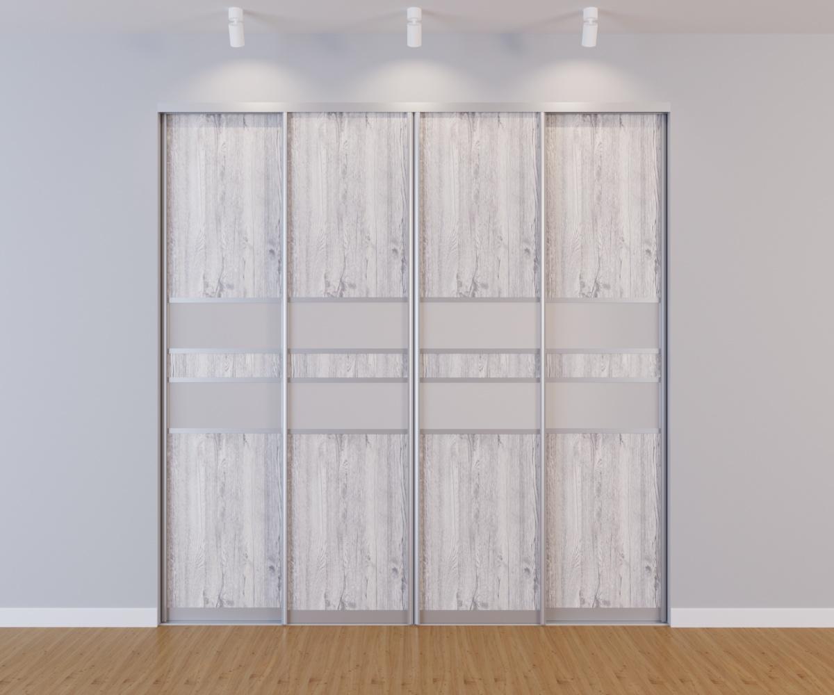 Встроенный шкаф-купе 4 двери Ясмунд белые вставки